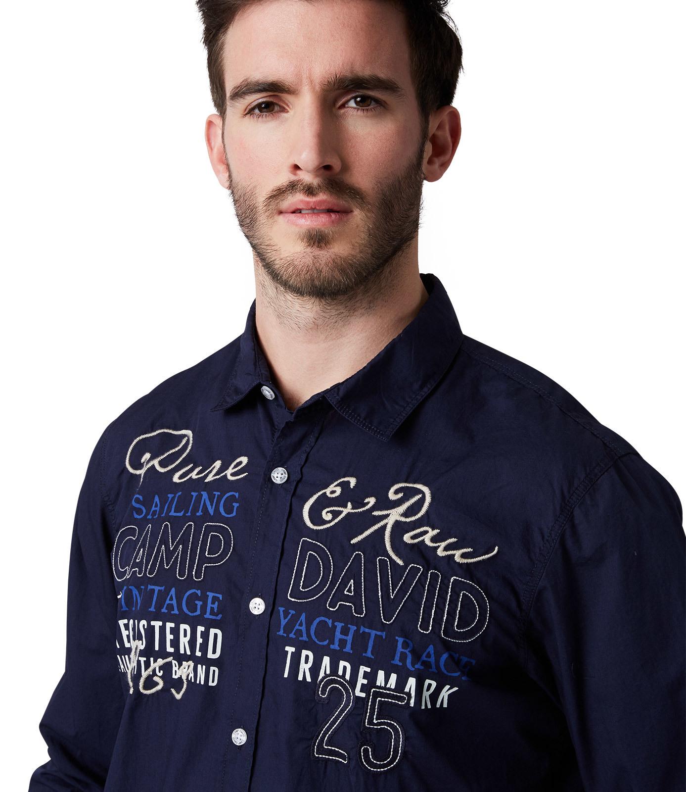 Langarmhemd mit Print und Stickereien