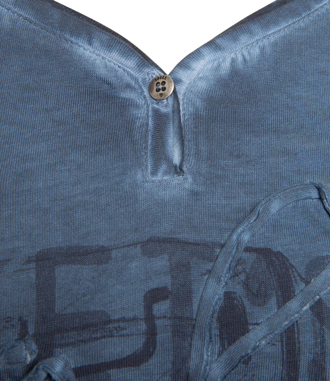 Langarmshirt mit V-Ausschnitt und Artwork