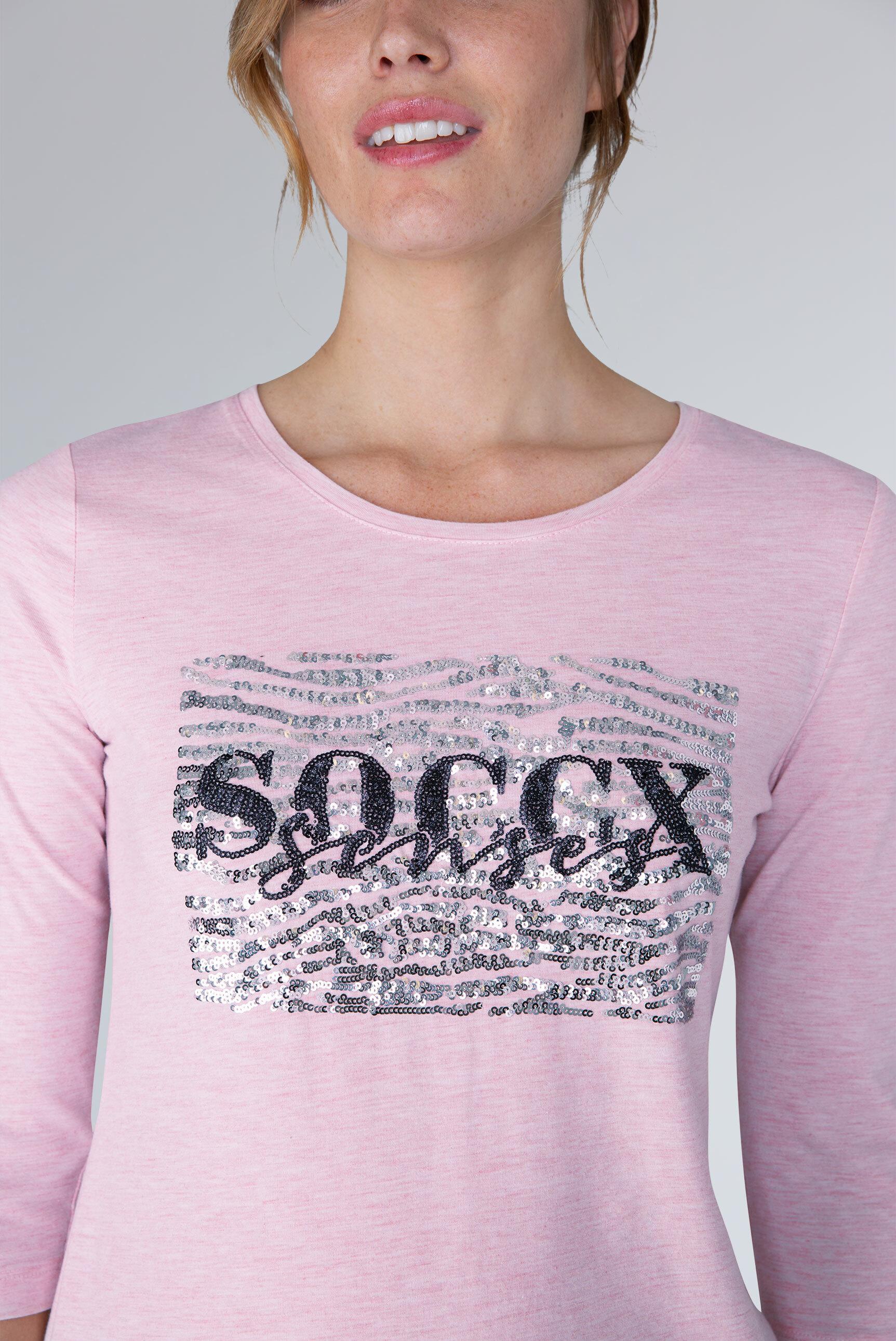 Logo-Shirt mit Glitzer-Pailletten