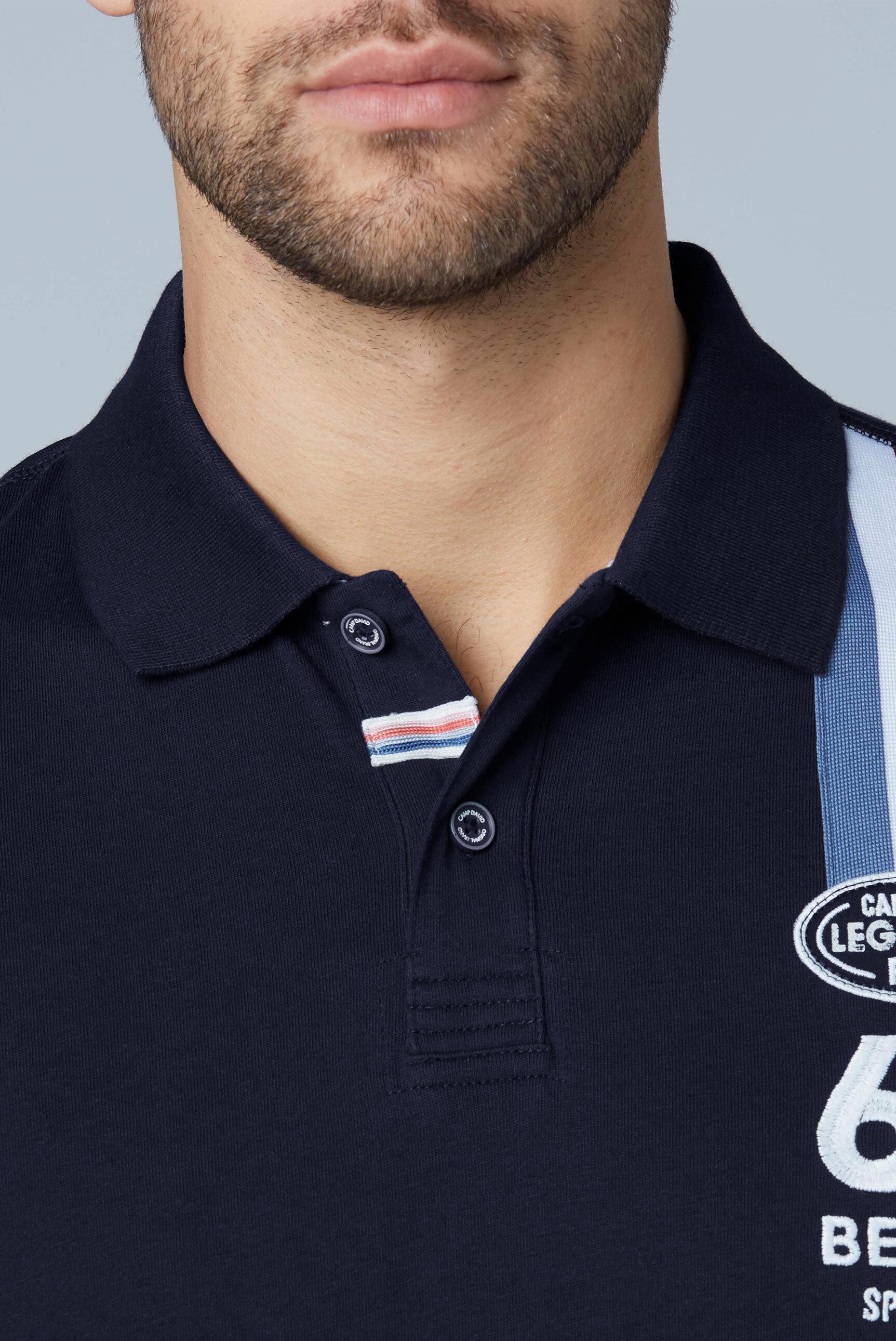 Polo mit Rallye-Streifen und Stickerei