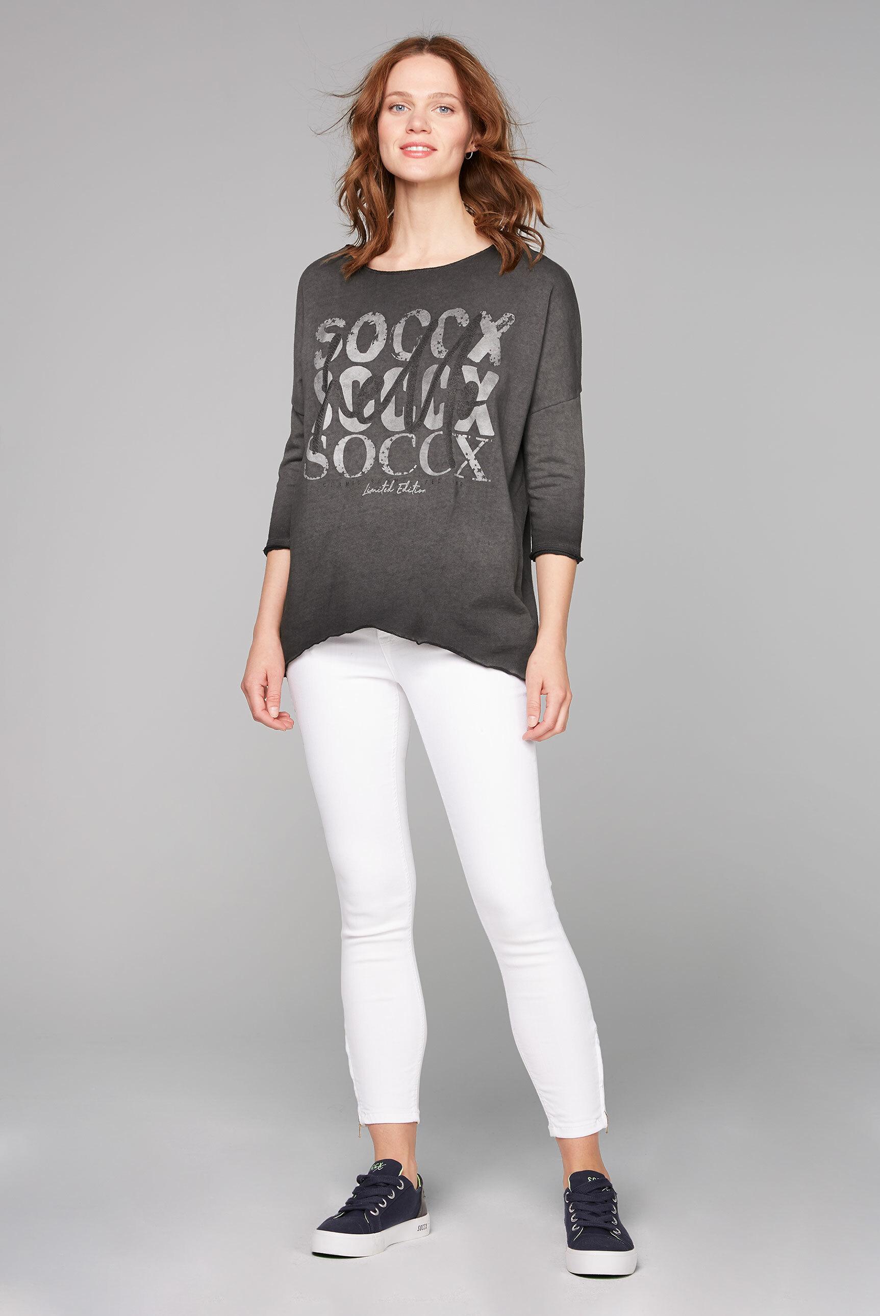 Sweatshirt mit Used-Färbung und Print