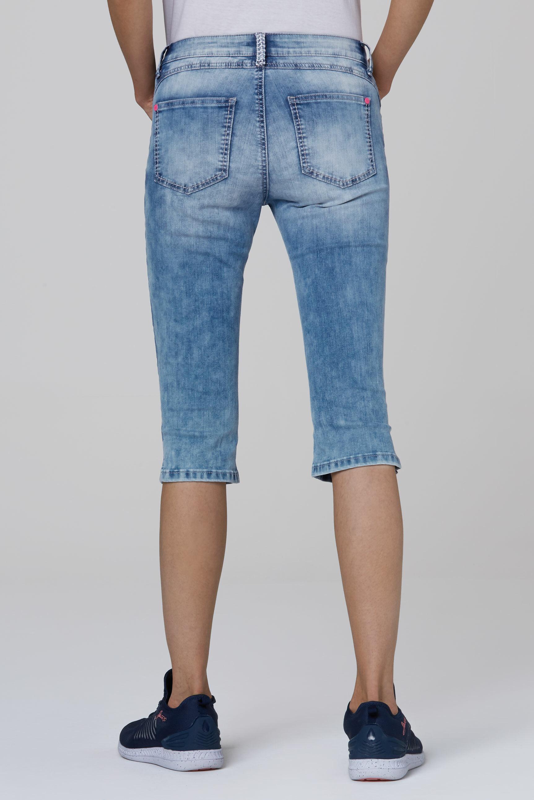 Capri Jeans KY:LI mit Stickerei und Knopfleiste