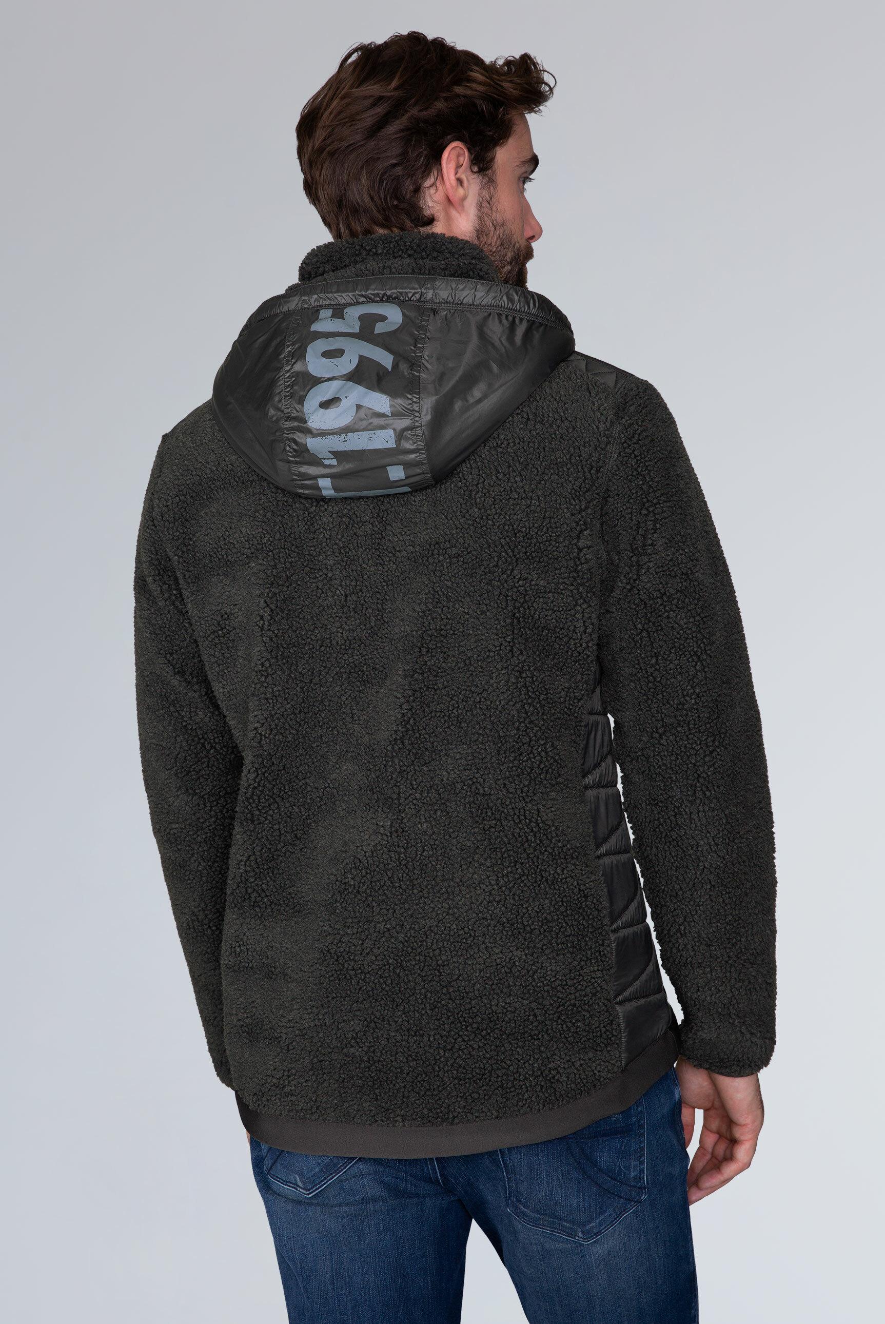 Jacke aus Teddyfleece mit Nylon-Kapuze