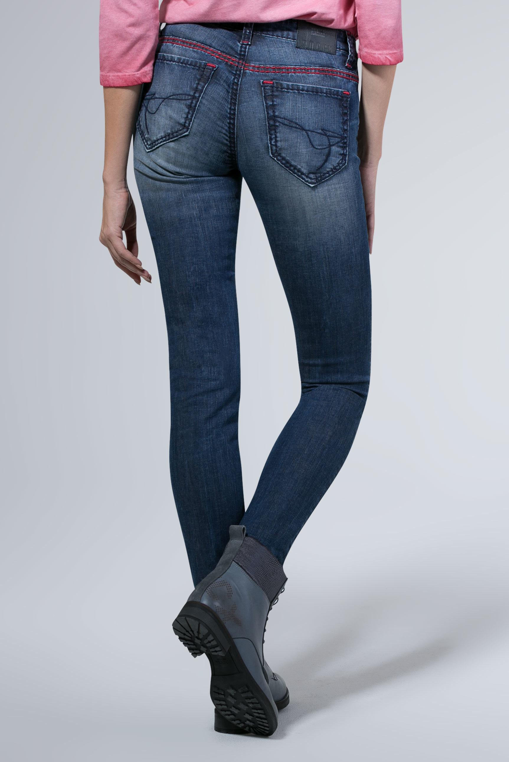 Jeans HE:DI mit Used-Optik und farbigen Steppnähten