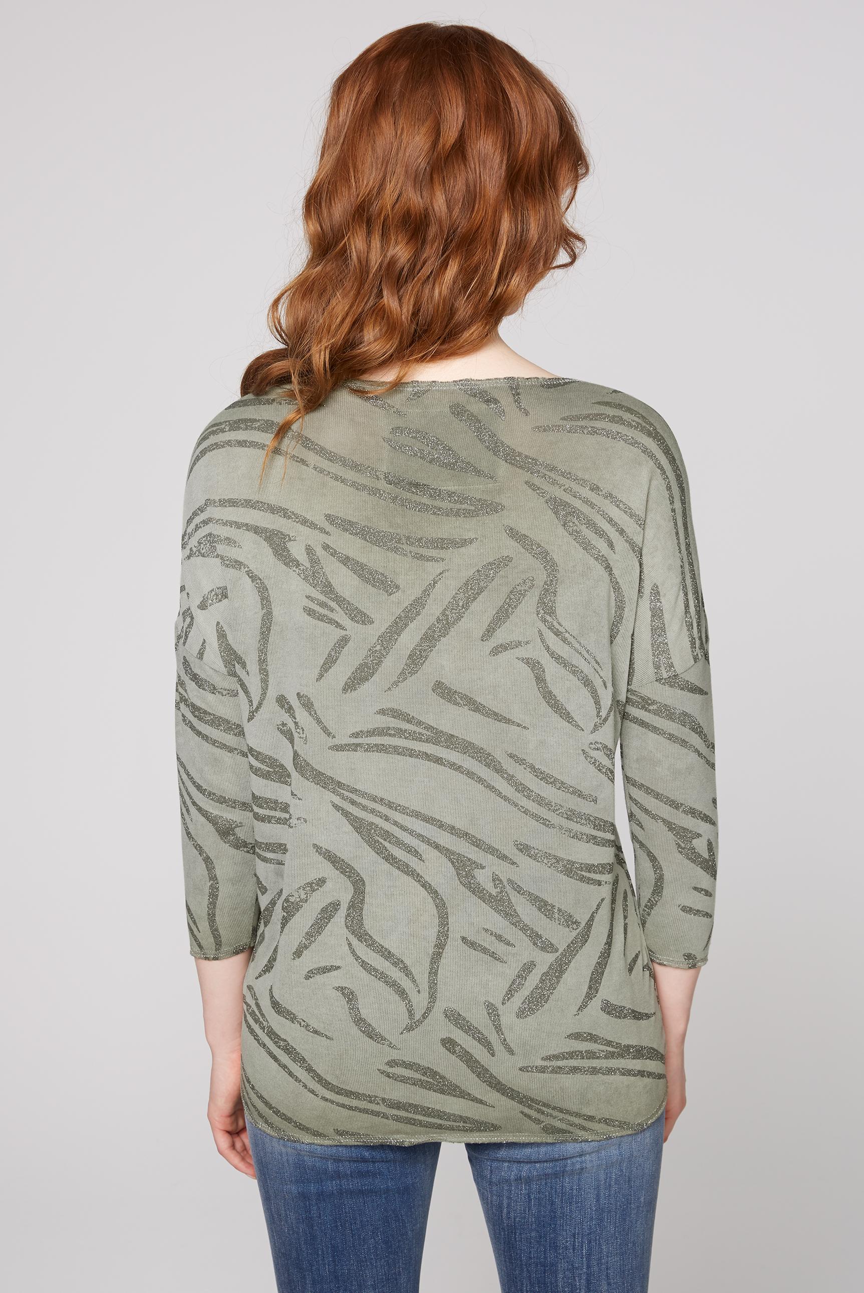 Shirt mit Raffung und All Over Glitter Print