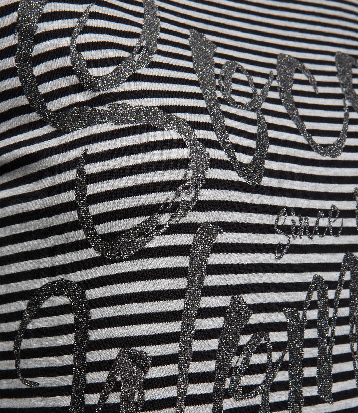 Streifenshirt mit Glitzer-Logo