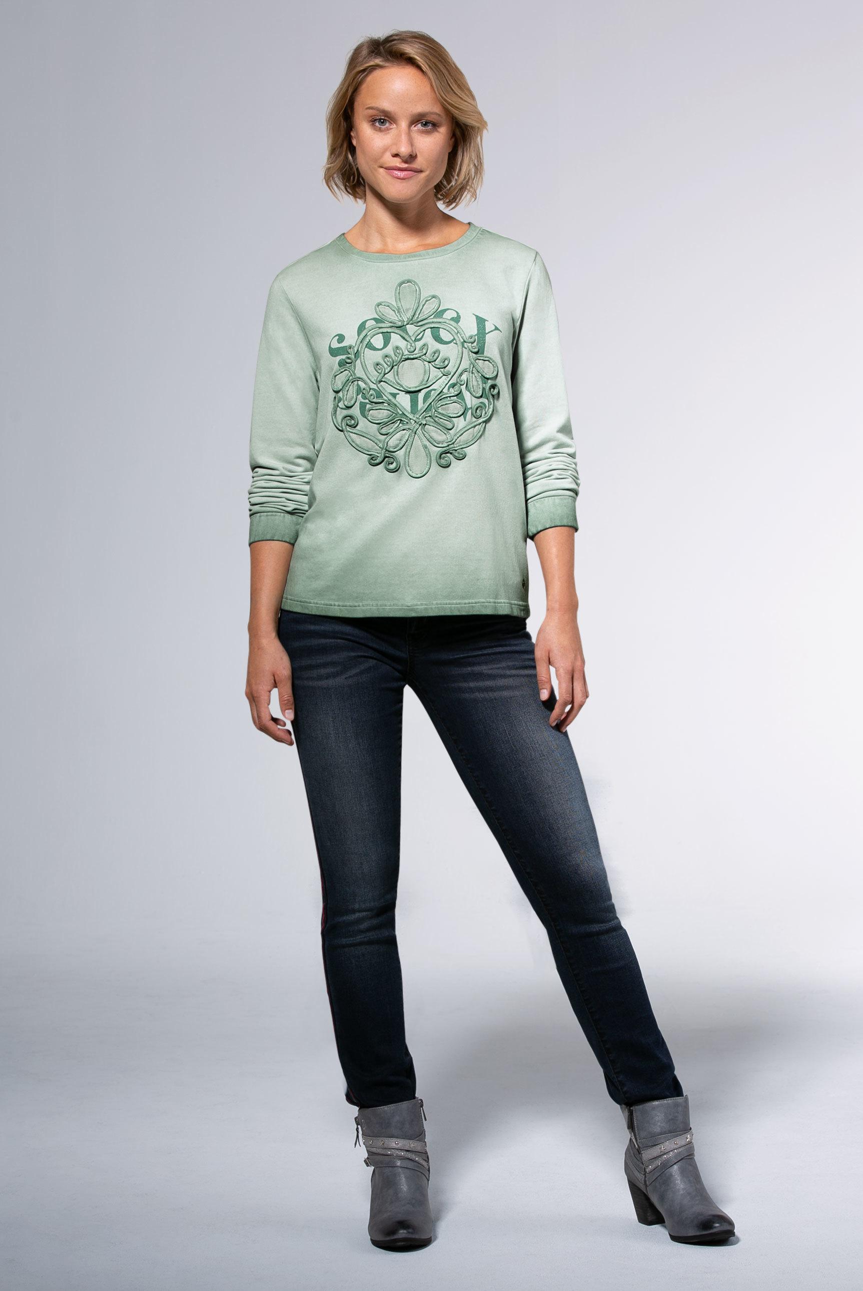 Sweatshirt mit Mesh- und Tape-Applikationen