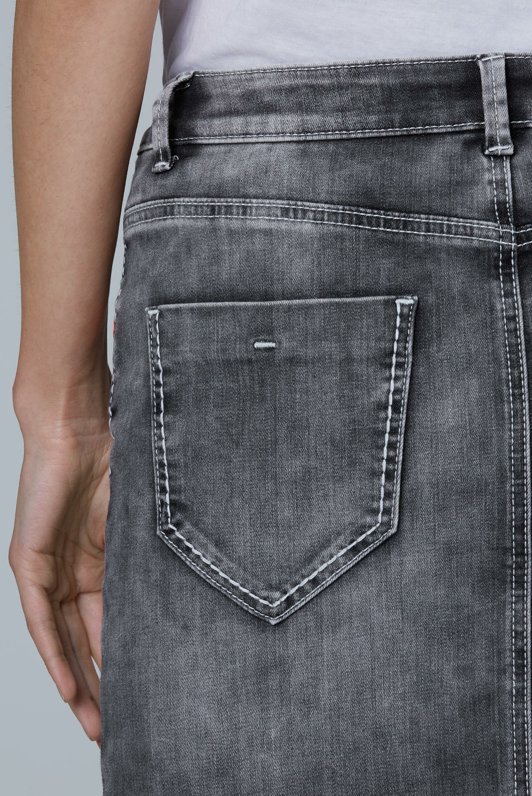 Jeansrock TO:NY mit Used-Optik und Knopf-Detail