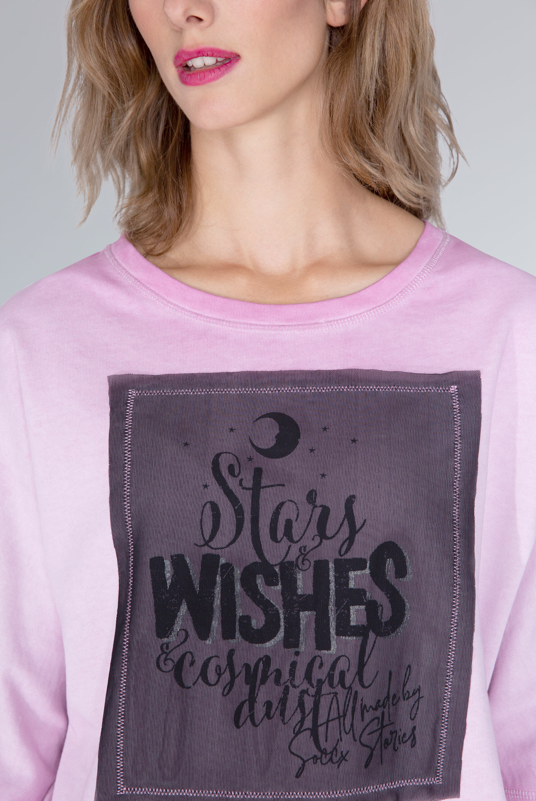 Kurzärmliges Sweatshirt mit Mesh-Artwork
