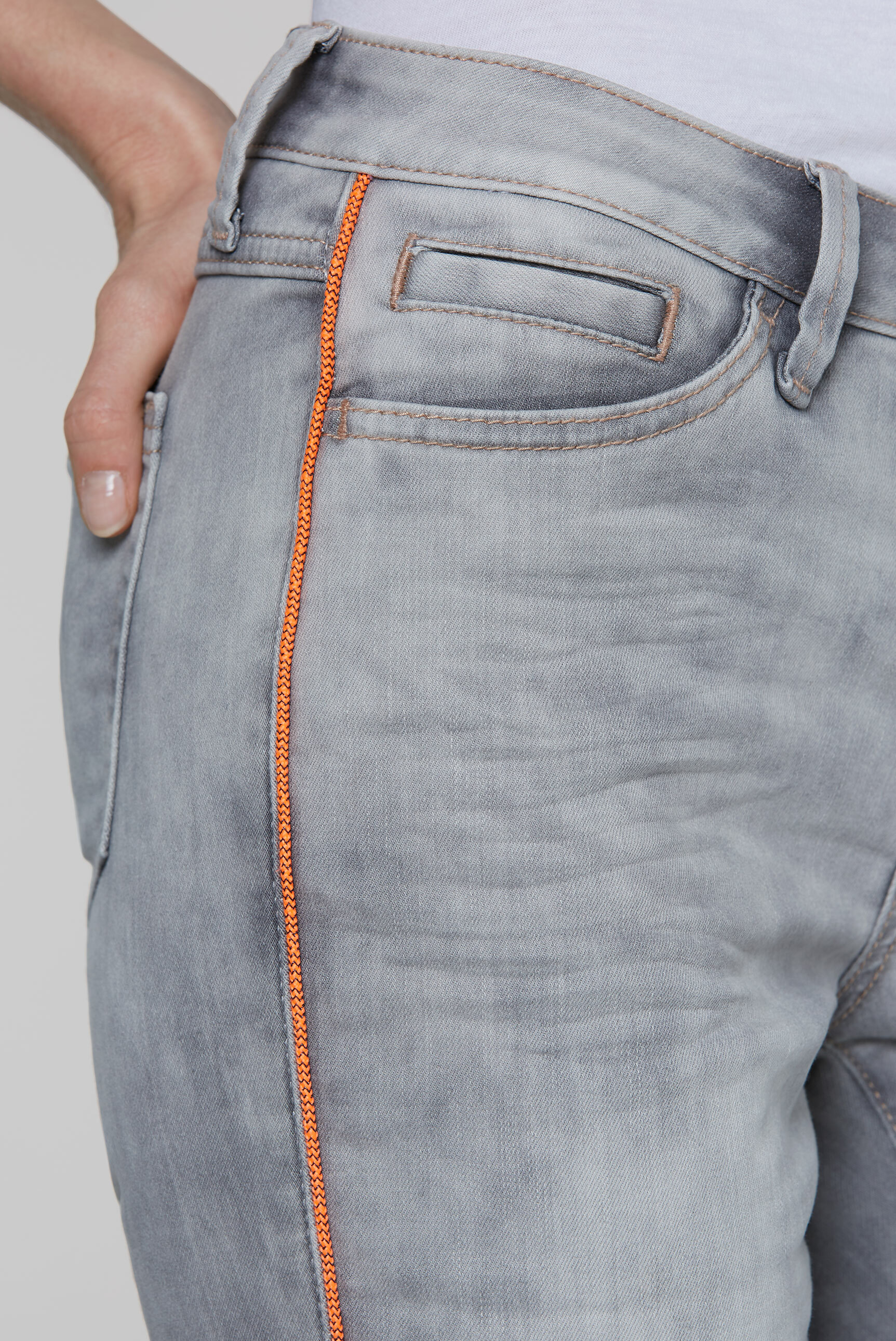 RO:MY Jeans Bermuda mit Neon-Piping