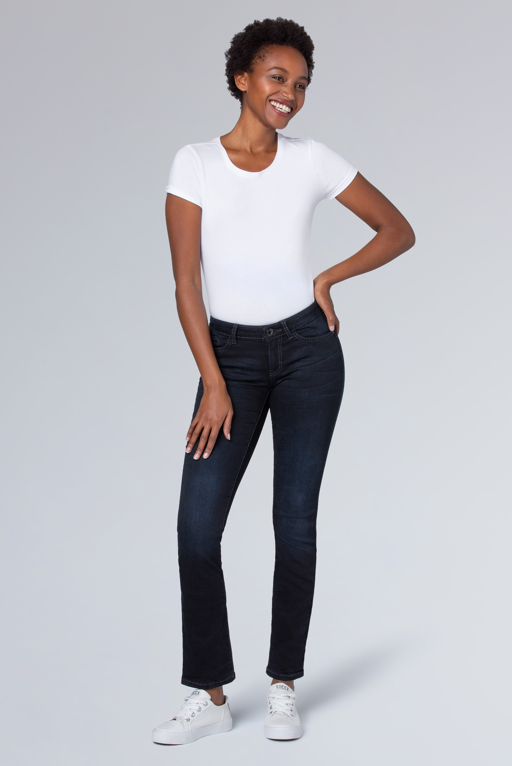 Stretch-Jeans RO:MY mit Used-Waschung
