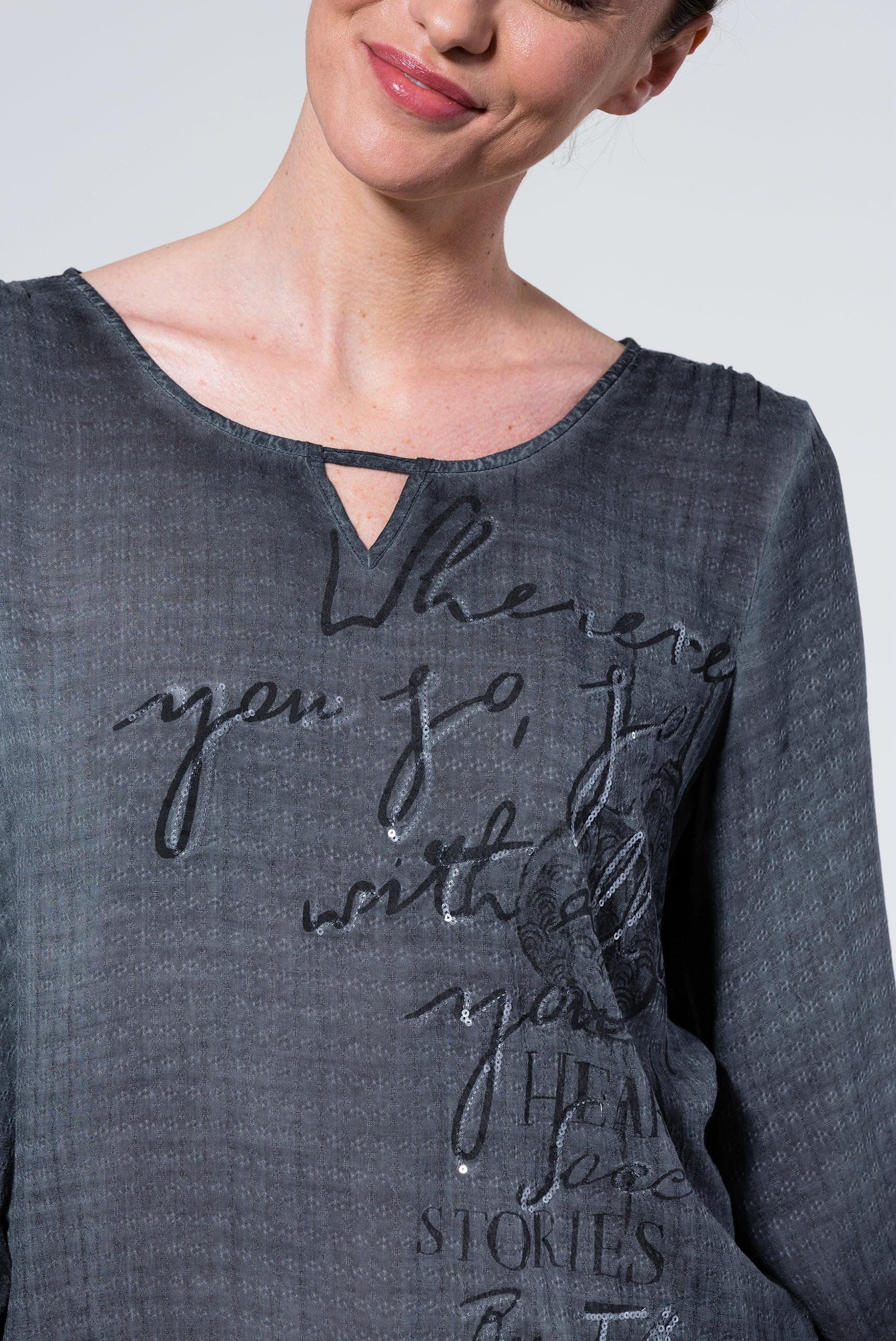Bluse mit Webmuster und Artwork