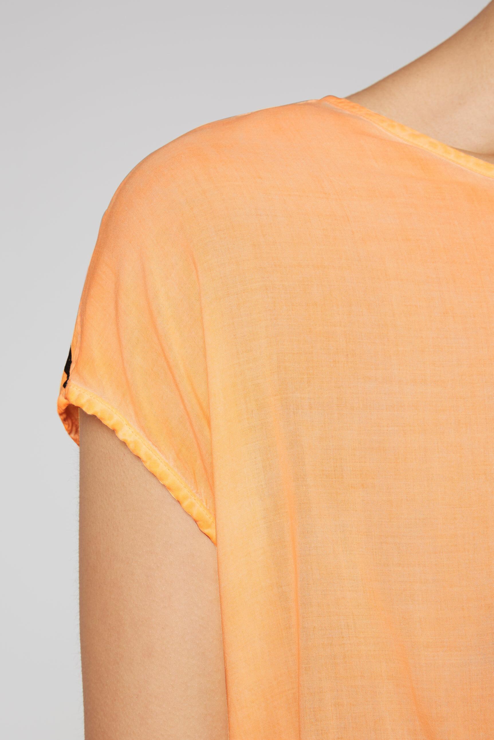 Blusentop im Materialmix mit Rückenprint