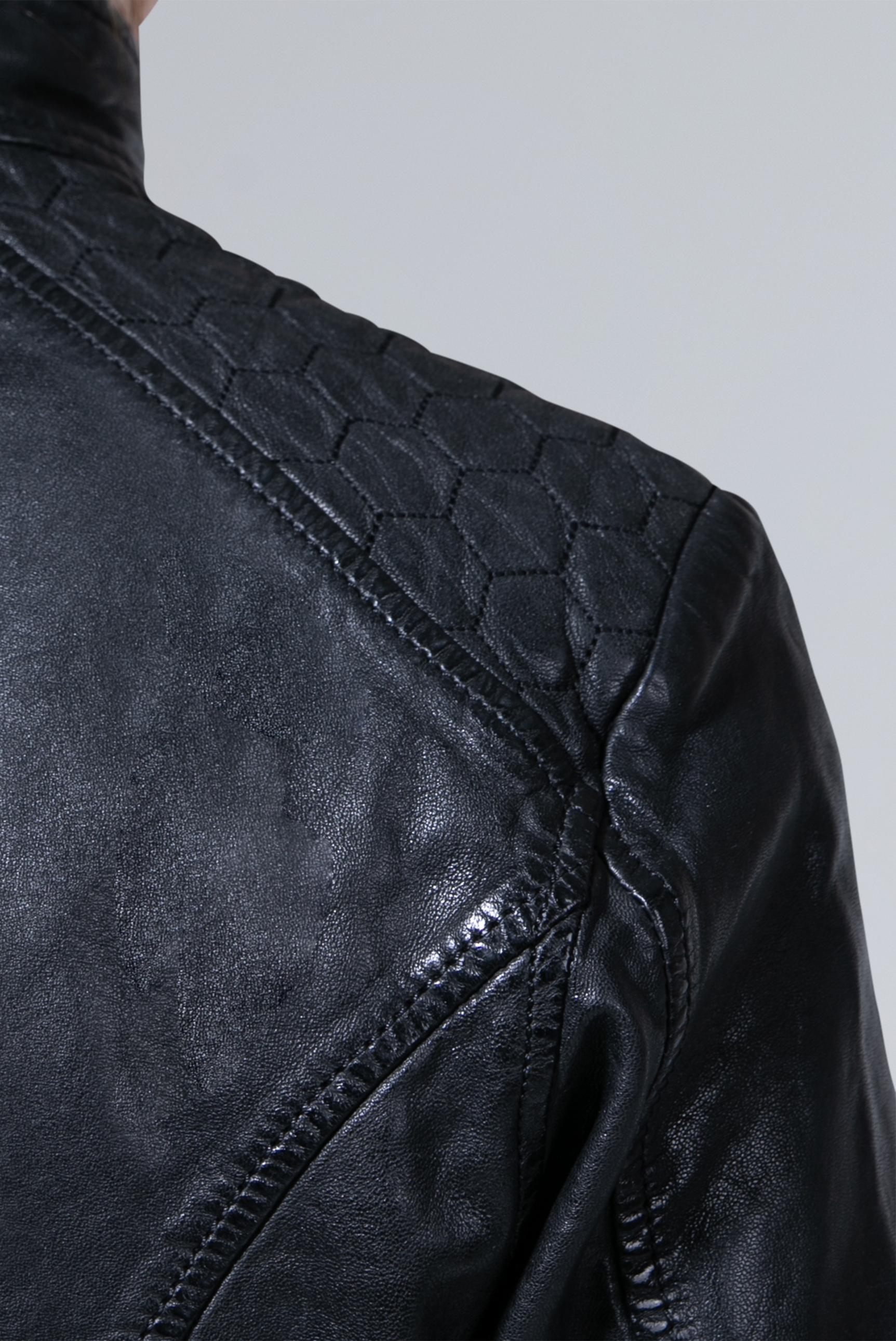 Lederjacke im Vintage Look mit Fake Fur