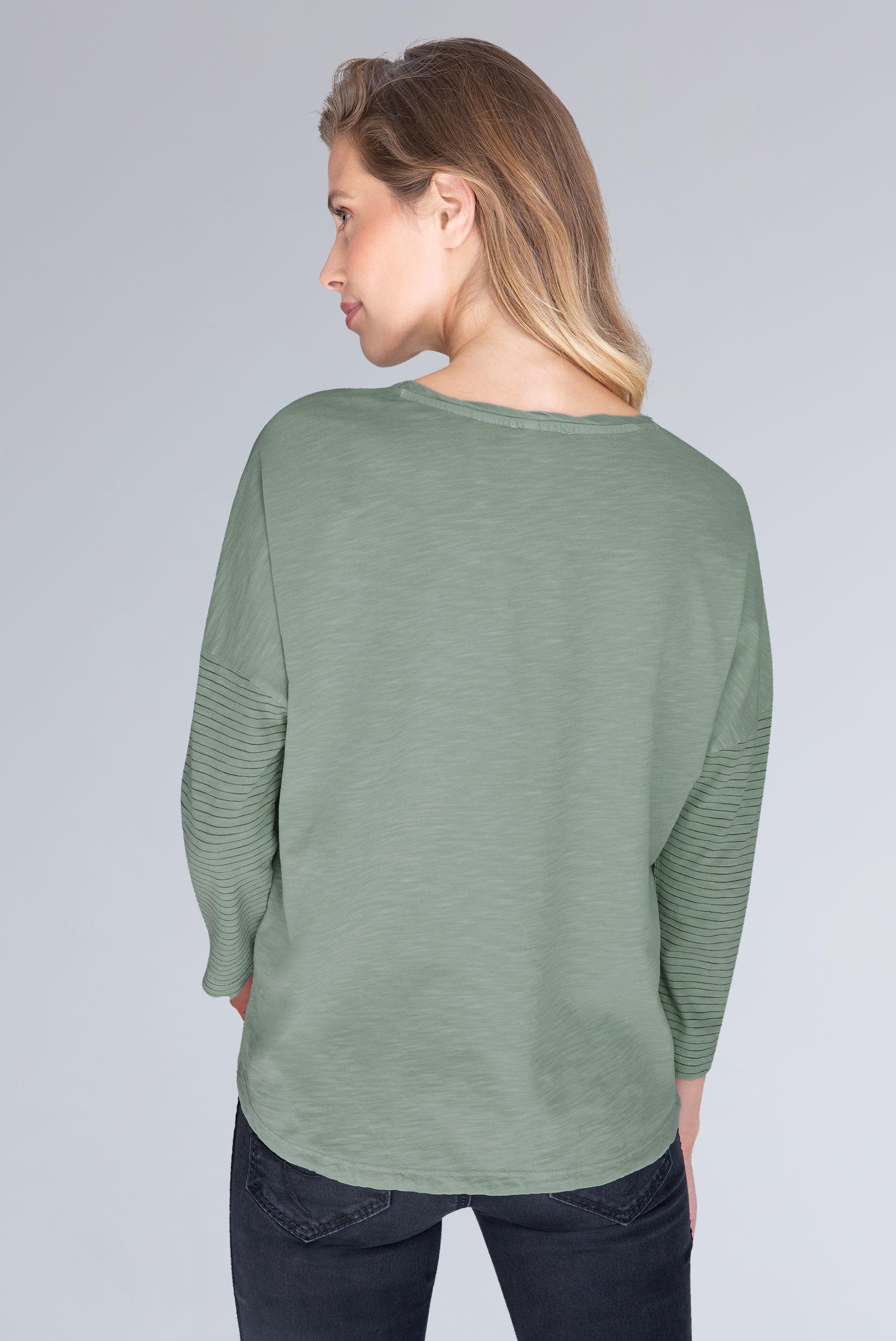 Slub Yarn Shirt mit 3/4-Ärmeln und Artwork