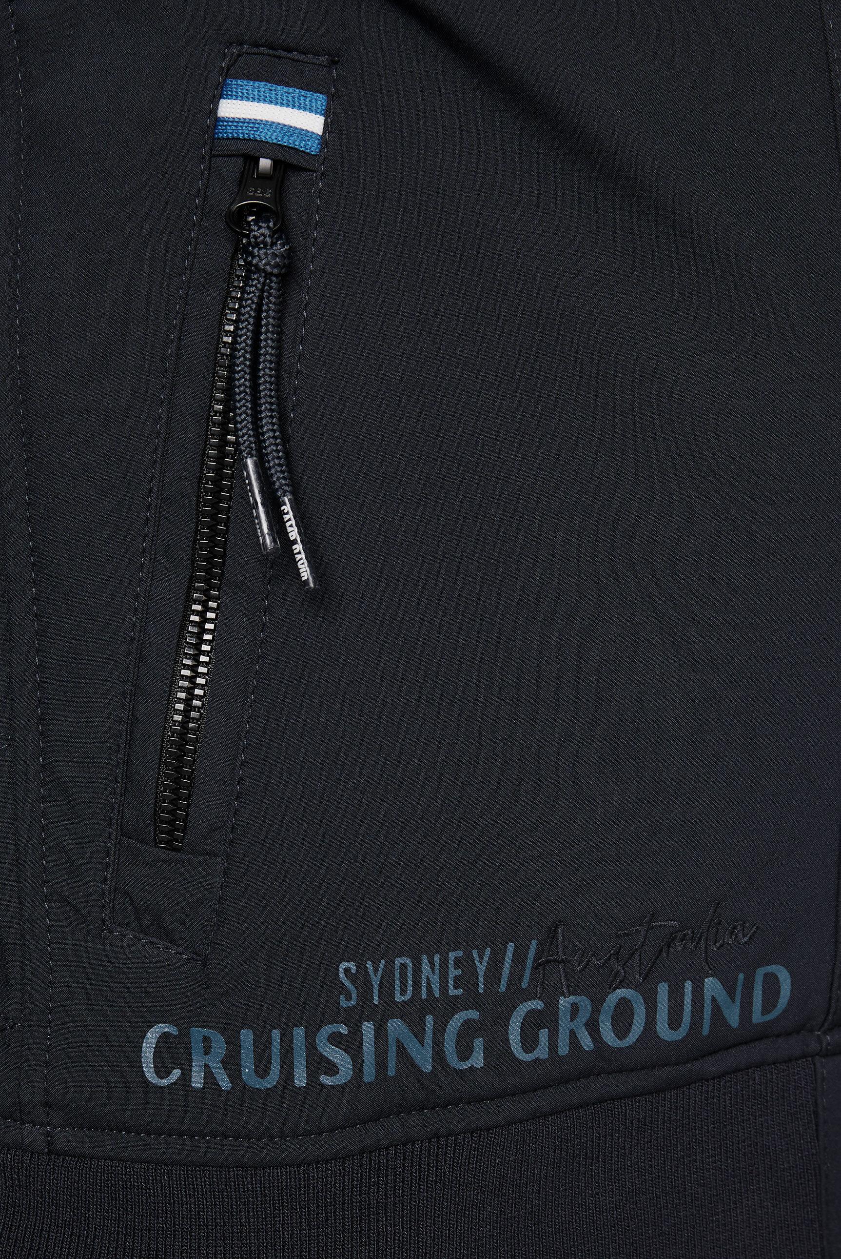 Softshelljacke mit Kapuze und Rücken-Print