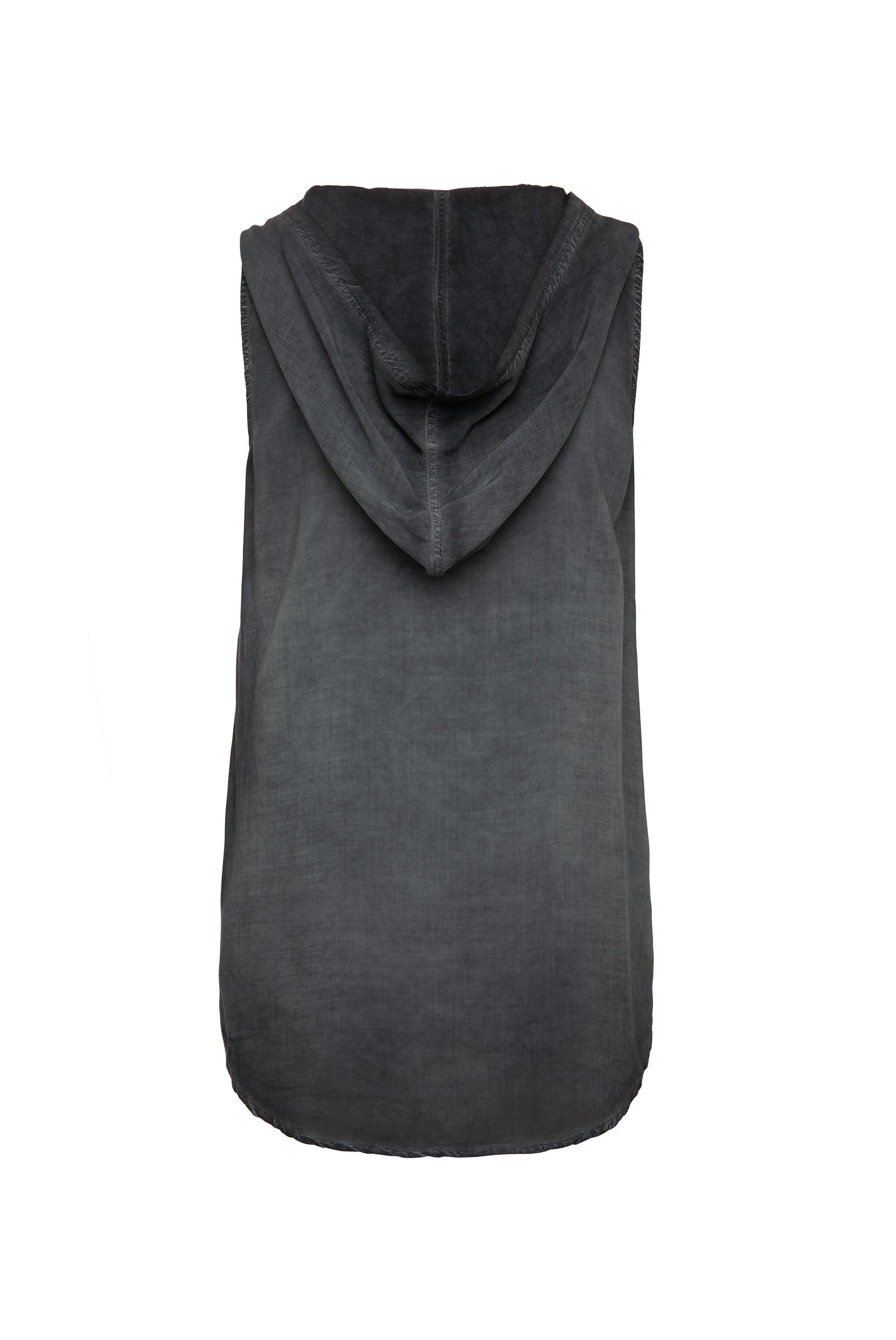 Ärmellose Bluse mit Kapuze und Print